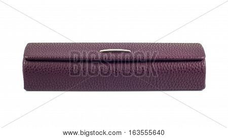 A closed glasses case on white background.