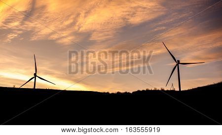 Wind Turbine Power Generator Farm At Sunset, Georgia