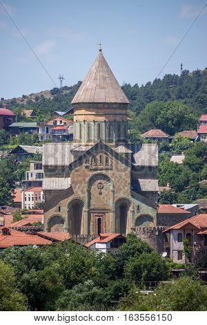 Ancient orthodox church Svetitskhoveli. Mtskheta landscape, Georgia.