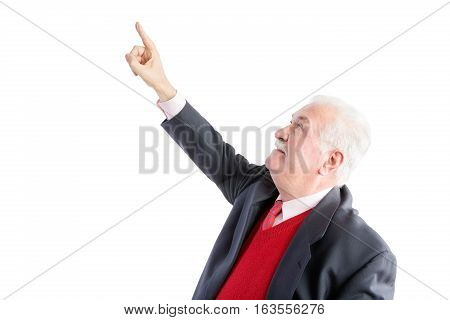 Thoughtful Elderly Man Pointing Above His Head