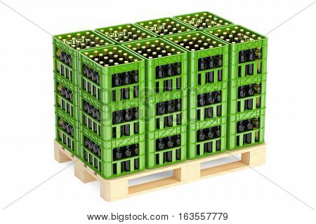 Drink crates with beer bottles on the wooden pallet 3D rendering isolated on white background