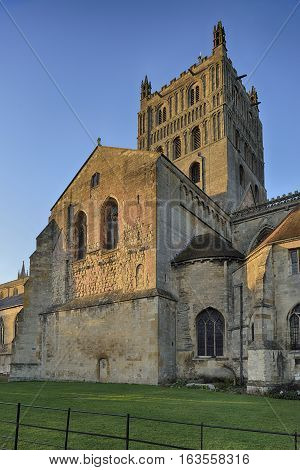 Tewkesbury Abbey in late Winter Sun Gloucestershire