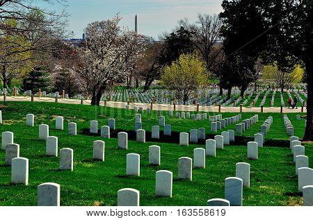 Arlington Virginia - April12 2014: Row upon row of military gravesites at Arlington National Cemetery *