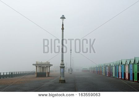 Foggy winter's day on Hove Promenade in East Sussex