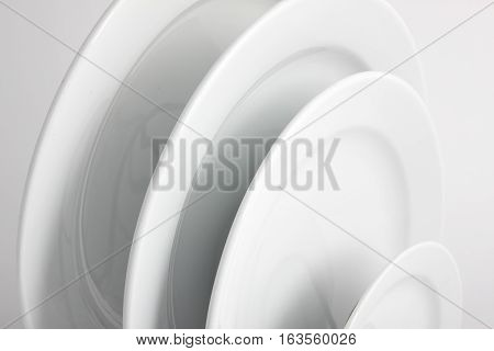 Close Up of Clean White Round Plates
