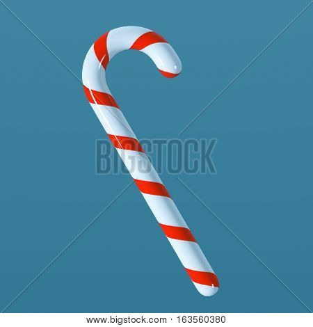 candy cane in cartoon style on blue background 3d illustration clipart CG