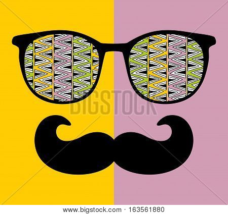 Abstract face of man in glasses. Vector image in retro style.