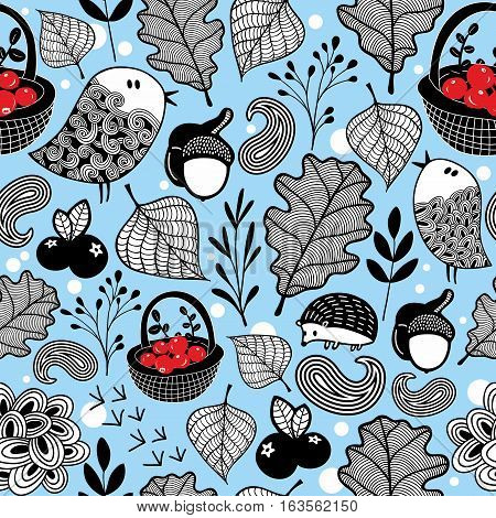 Winter seamless pattern with birds and animals. Vector forest illustration.