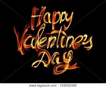 Happy Valentines day isolated words lettering written with fire flame or smoke on black background.