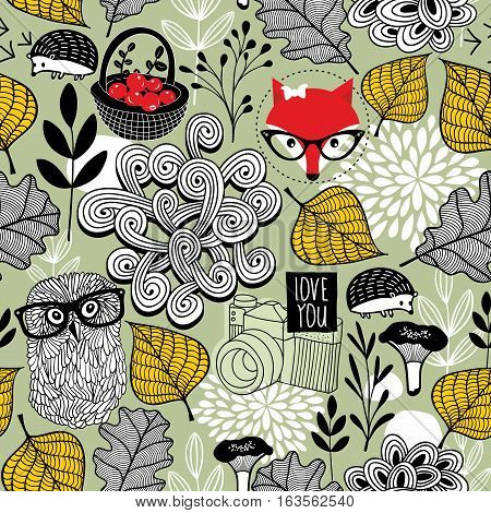 Seamless pattern with forest animals and flora. Cute hipster fox, owl in retro eyeglasses, hedgehog and autumn leaves on the ground. Vector endless wallpaper. Textured background of creative cartoons.