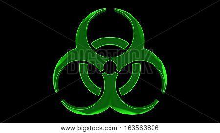 green biohazard sign symbol over a black background