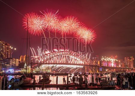 Sydney Fireworks Eve New year Show at Harbour bridge from Clak park Sydney Australia.JAN 01,2017  the world-famous Sydney New Year's Eve fireworks from an unrivalled vantage point.