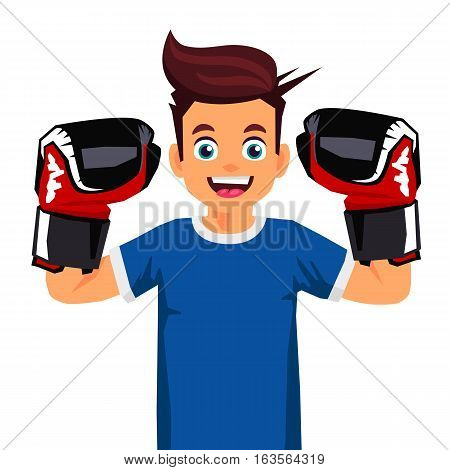 Cool little boxer. Vector illustration on white background. Sports concept.