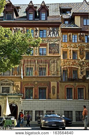 City of Lucerne, Switzerland. Unique, artistic and colorful frescoes on many downtown establishments. #4