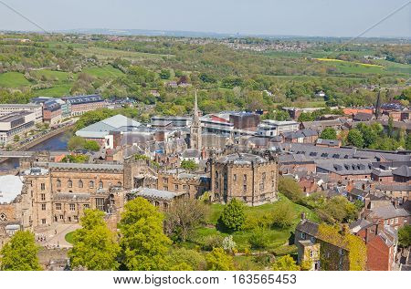 An aerial view of Durham Castle, a Norman castle in the city of Durham, England, which has been wholly occupied since 1840 by University College Durham. The castle and nearby cathedral are a World Heritage Site.