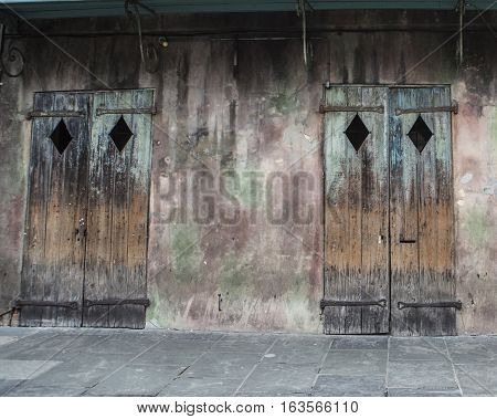 A pair of doors from an abandoned business in the French Quarter of New Orleans in Louisiana.