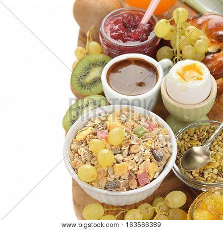 Healthy vegetarian breakfast on a white background