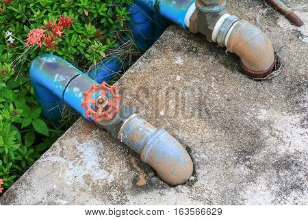 water valve plumbing steel rust old tap pipe with joint