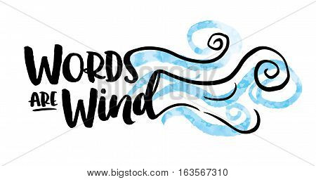 Words are Wind Typography design with blowing wind illustration in blue and black