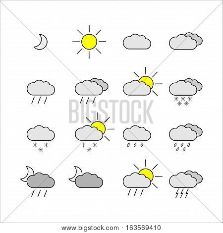 Set with different weather icons/ Black and white color