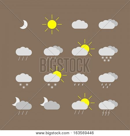 set with different weather icons. Different color