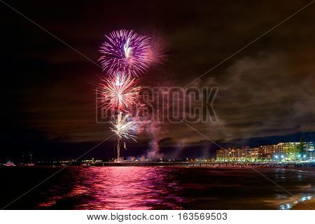 Fireworks display during New Year eve at Glenelg beach South Australia