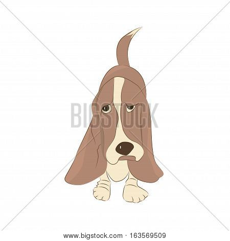 Cute Basset Hound dog. Cartoon character for apparel or other uses in vector. T-shirt print or Book illustrations for children. Isolated on white background.