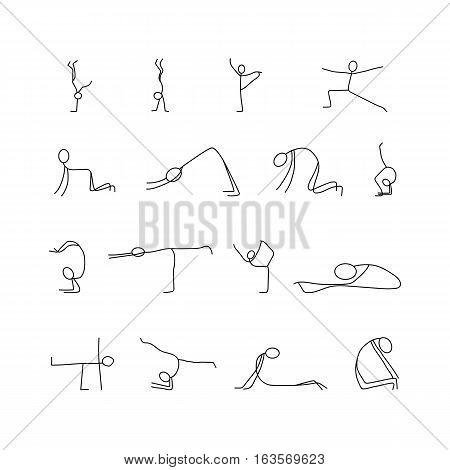 Cartoon icons set of sketch little vector people stick figures doing yoga