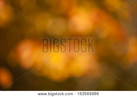 Blurred background of orange and yellow autumnal leaves