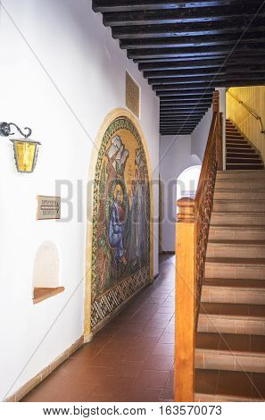 Kykkos Greece - November 24 2016: Cyprus island a staircase and sacred paintings in the Kykkos monastery
