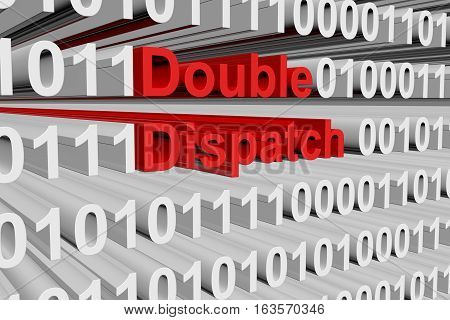 Double dispatch in the form of binary code, 3D illustration