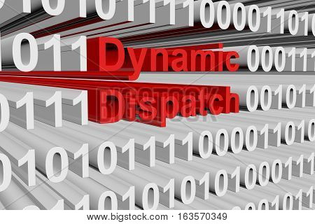 Dynamic dispatch in the form of binary code, 3D illustration