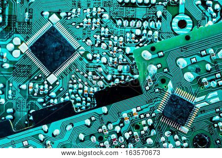 Two Circuit Boards Turquoise Color Diagonal Composition