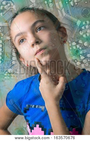close up portrait of 11 year old girl thoughtfully looking up leaning a finger to her cheek through the computer motherboard silhouette