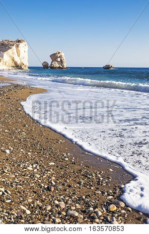 Greece Cyprus the Petra Tou Romiou coast (Aphrodites' Rock) who according to legend it is the birthplace of Aphrodite