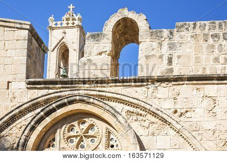 Greece Cyprus Aya Napa the church of the Monastery of the 14th centurydetail of the facade