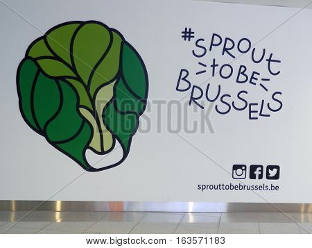 Brussels Belgium - December 19 2016: Hashtag Brussel Sprout poster at Brussel Airport