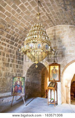 Aya Napa Greece - November 26 2016: Cyprus island the church of the Monastery (14th century)