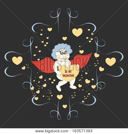 Funny cartoon Cupidon with Heart. Greeting card for Valentin's day with fairy boy.