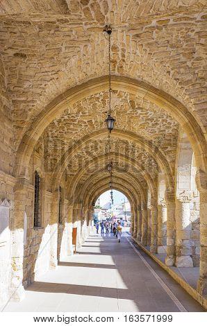Larnaka Creece - November 26 2016: Cyprus island the porch of the St. Lazarus church
