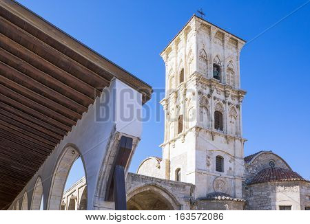 Greece Cyprus Larnaka the St. Lazarus church bell tower and porch