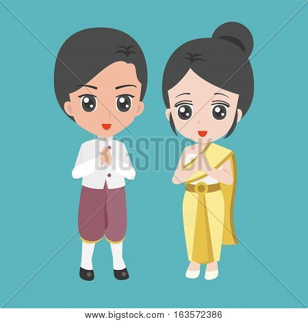 Vector cartoon male and female dress in thai traditional costume, flat design