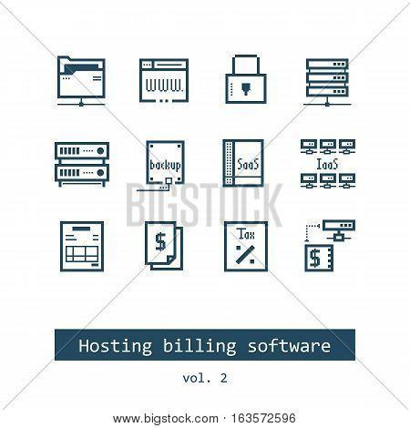 Set of Hosting Billing Software Vector Icons