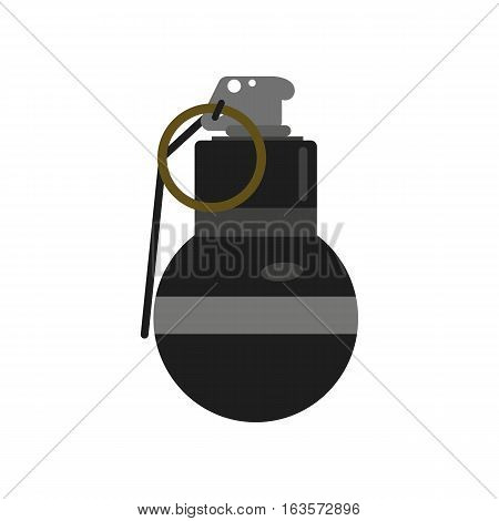Grenade explosive bomb military army weapon. Soldier combat violence gun. Metal armed attack explode. Destruction steel hand danger quipment vector.