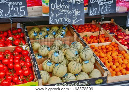 Bonsecours France - june 22 2016 : greengrocer