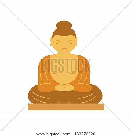 Buddha statue bangkok thailand religion statue asia meditation art flat vector illustration. Spiritual face thailand religion sculpture symbol.