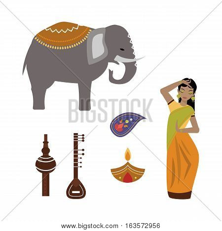 India landmark travel vector icons collection. Culture pipe instrument sign design historic hinduism elements. Modern tradition beautiful woman and ornament symbols.