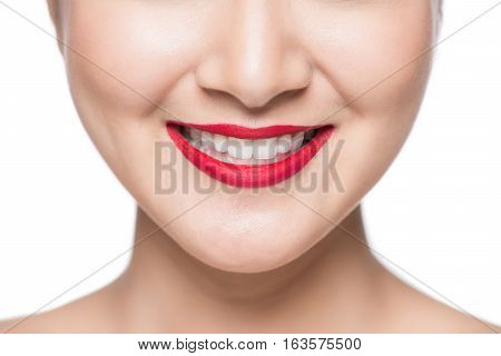 Sexy sensual red lip mouth open white teeth.