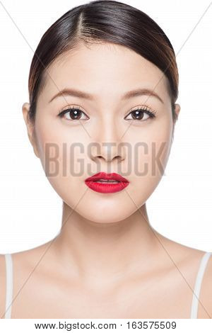 Amazing asian woman portrait retro make up red lips with perfect skin