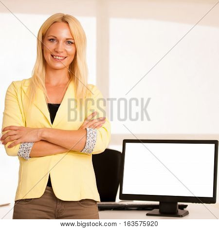 Advertising Space On Monitor - Business Woman Standing Near Blank Screen With Space For Commercial